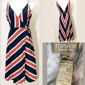 Topshop Womens V Neck Knee Length Wrap Dress